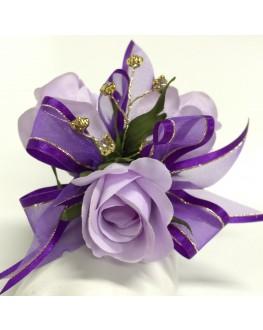 Silk Lavender Rose Roses Purple Ribbon Diamante Wrist Corsage