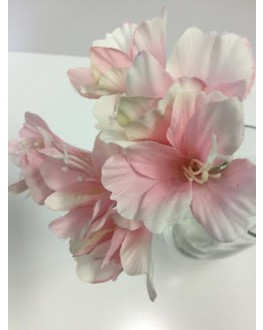 Silk azalea flowers light pink stem pick