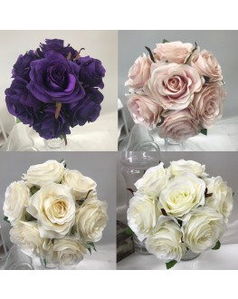 Silk Rose Bouquet Open Rose 7 Head White Ivory Pink Purple