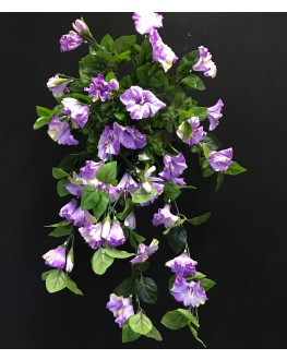 Artificial Silk Purple Morning Glory Hanging Plant