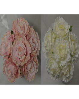 Silk Rose Bouquet Open Rose 6 Head White Pink
