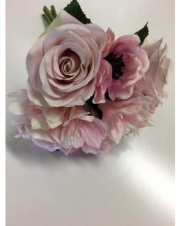 SILK PRE MADE BUNCH LIGHT DUSTY PINK ROSE ROSES ANEMONE