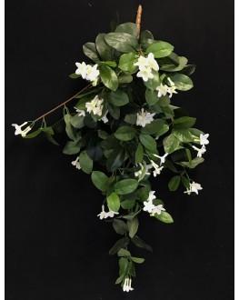 Artificial Silk Green White Stephanotis Hanging Plant