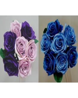 Silk Rose Posy Bouquet 7 heads - Blue Purple & Lilac