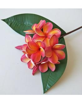 LATEX REAL TOUCH FRANGIPANI PLUMERIA FLOWER STEM TROPICAL ORANGE FLOWERS 60CM
