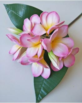 LATEX REAL TOUCH FRANGIPANI PLUMERIA FLOWER STEM TROPICAL PINK FLOWERS 60CM