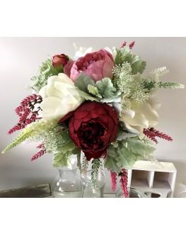Artificial Silk Rustic Burgundy White Peony Dusty Miller Native Bridal Wedding Posy