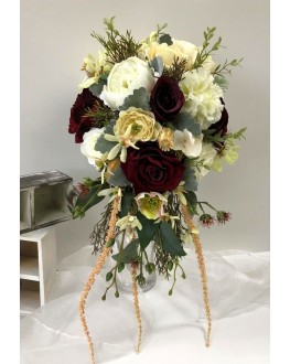 Artificial Rustic Silk Burgundy Rose White Peony Cream Hydrangea Orchid Native Bridal Wedding Teardrop