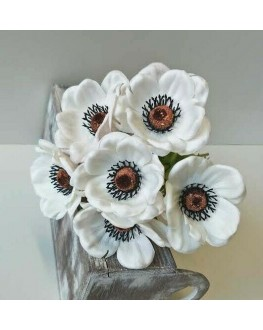 6 Head Latex Real Touch White Anemone Bunch