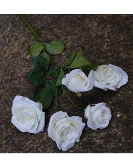 Silk Rose Spray 5 Head - Cream White
