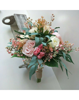 SILK WEDDING POSY BOUQUET BLUSH PINK FAKE FLOWERS BRIDAL BOUQUETS RUSTIC BOHO NATIVE