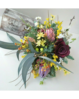 AUSTRALIAN NATIVE FLOWERS RUSTIC WEDDING BOUQUET SILK FLOWERS FAKE ARTIFICIAL BURGUNDY ROSE YELLOW WATTLE
