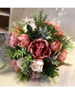 Artificial Silk Rustic Burgundy Peony Rose Dusty Miller Gum Native Bridal Wedding Posy