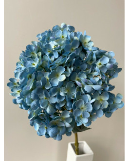 DRIED LOOK HYDRANGEA DUSTY BLUE ARTIFICIAL SILK FLOWER STEM WEDDING DECO FAKE