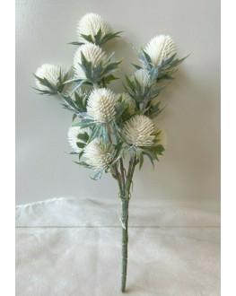 ARTIFICIAL SILK FLOWER WEDDING SCOTTISH THISTLE FLOWERS WHITE RUSTIC FAKE STEM