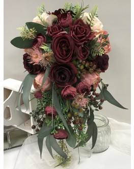 Artificial Rustic Wedding Bouquet with Burgundy Rose Pink Peony Burgundy Ranunculus with Gum Leaves and Berries Teardrop