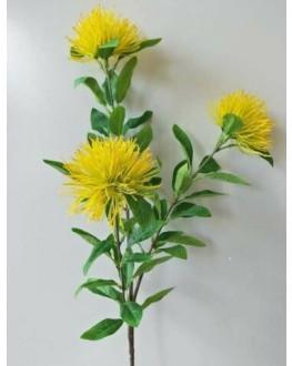 ARTIFICIAL SILK FAKE FLOWER AUSTRALIAN NATIVE YELLOW LEUCOSPERMUM FLOWERS STEM