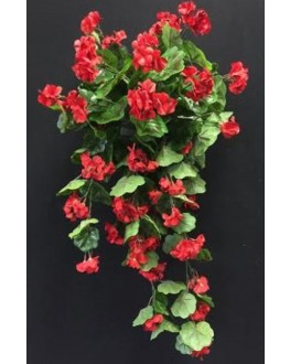 Artificial Silk Red Geranium Hanging Plant
