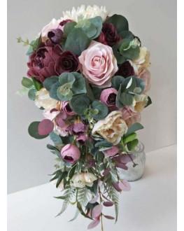 SILK WEDDING BOUQUETS BURGUNDY PEONY DUSTY PINK ROSES GUM LEAVES RUSTIC FLOWERS TEARDROP