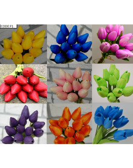 Latex Real Touch Tulip Tulips Bud bouquet Bunch x 12 heads - Blue Red Orange White Yellow Pink Purple Green