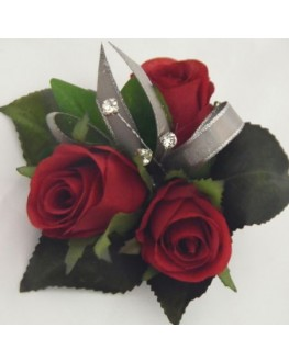 Silk Red Rose Pin Corsage with Diamante