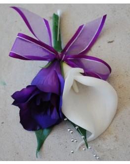 Silk Purple Lisianthus White Calla Lily Pin Corsage